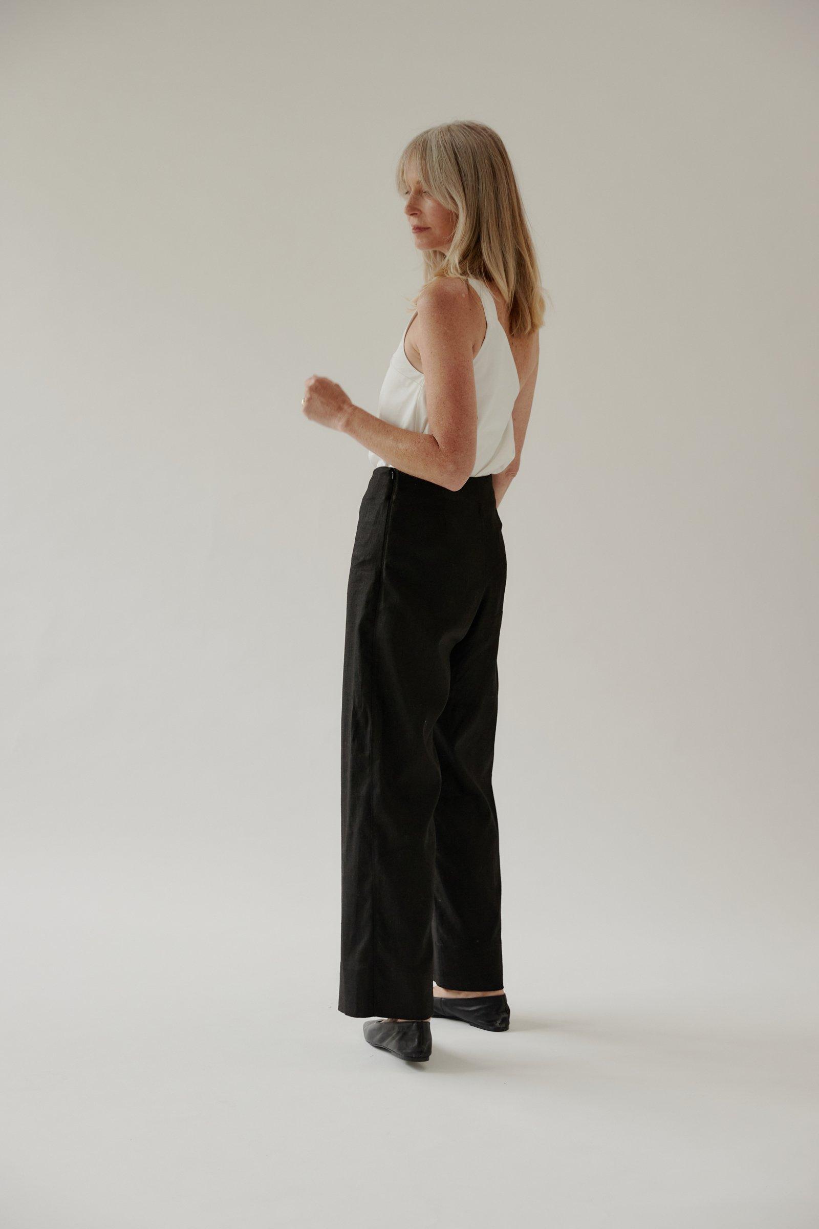 Pilot Client Digital Mina_model wears pants in Auckland studio.