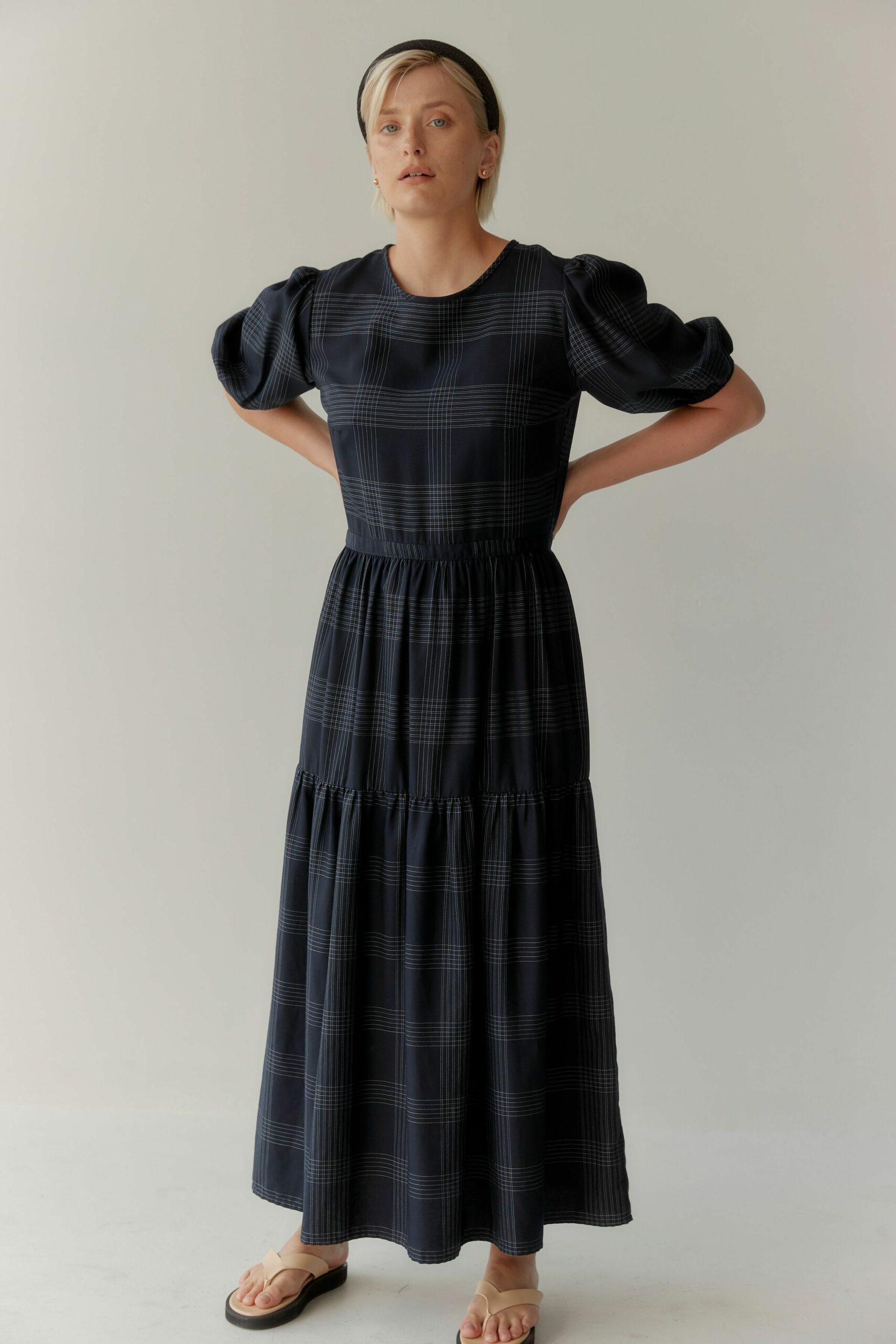 Pilot Client Digital Mina_model wears dress in Auckland studio.